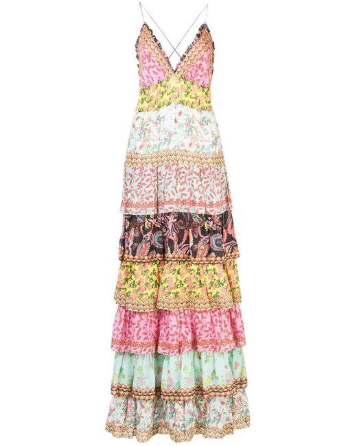 Alice + Olivia Pink Tiered Maxi Dress