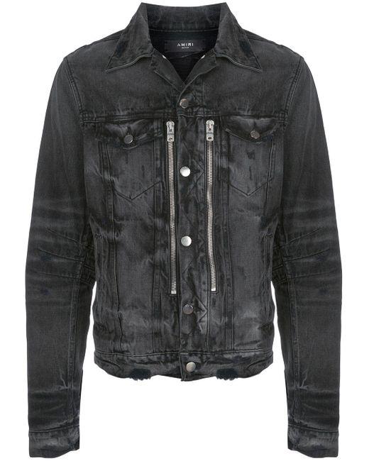 Amiri 'Bandana MX2' Distressed-Jeansjacke in Black für Herren