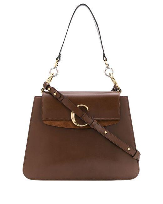 Chloé Brown Logo Plaque Tote Bag