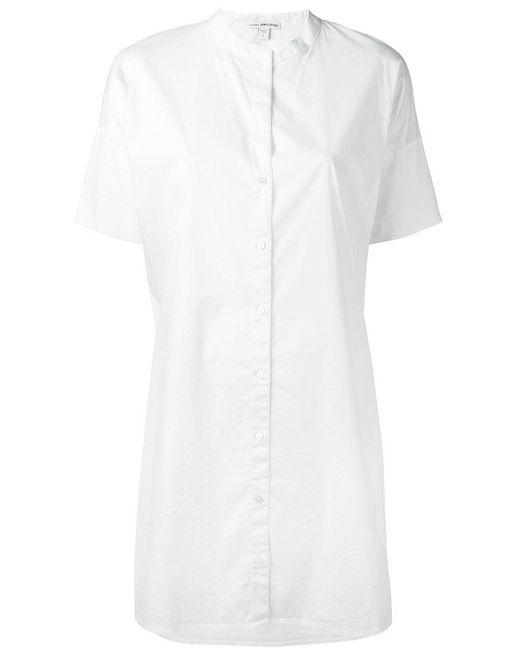 James Perse - White Shortsleeved Shirt Dress - Lyst