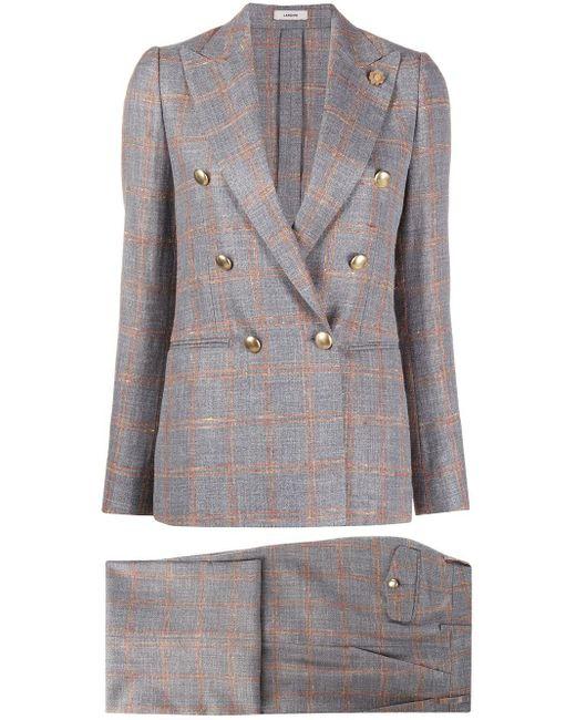 Lardini Gray Check-print Two-piece Suit