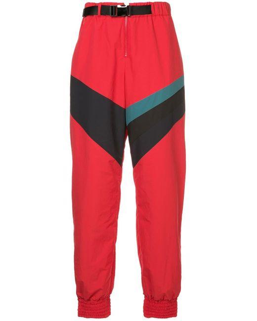 メンズ Facetasm Contrast Stripe Track Pants Red