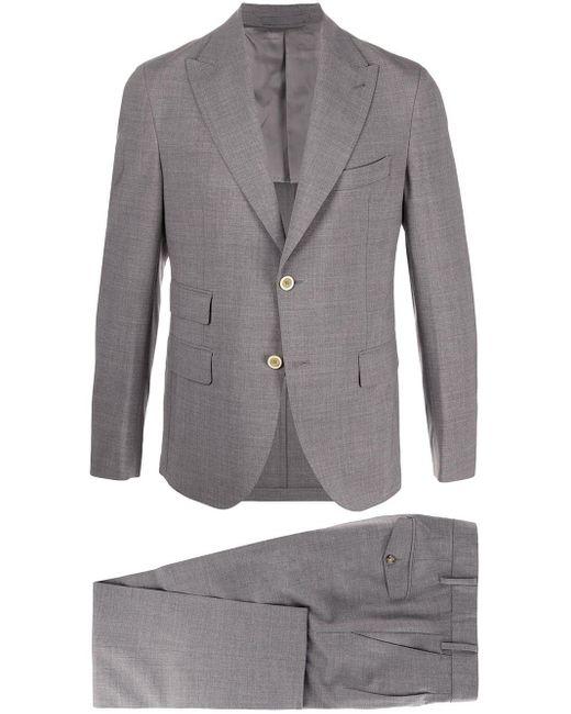 メンズ Eleventy スリムフィット スーツ Gray