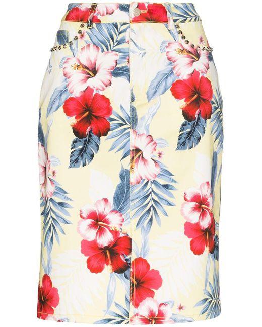 Les Rêveries Yellow Les Rêveries Tropical Floral Print Pencil Skirt