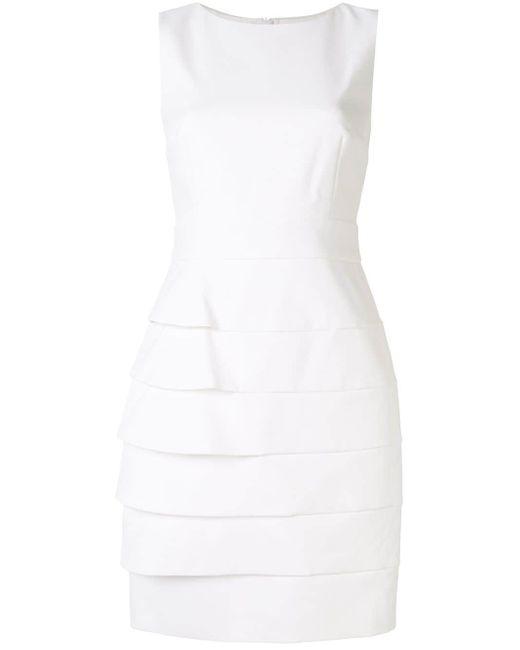 Paule Ka レイヤード シフトドレス White