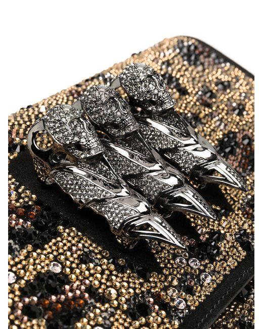 Philipp Plein Black Clutch mit Kristallen