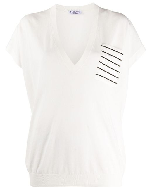 Рубашка С Карманом В Полоску Brunello Cucinelli, цвет: White