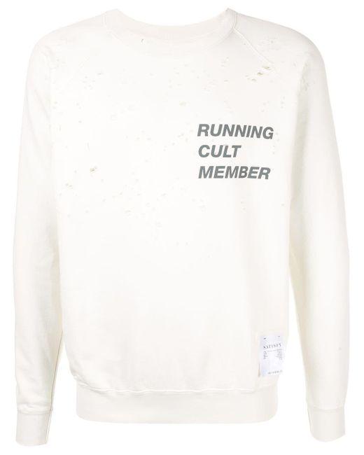 メンズ Satisfy Running Cult Member スウェットシャツ White
