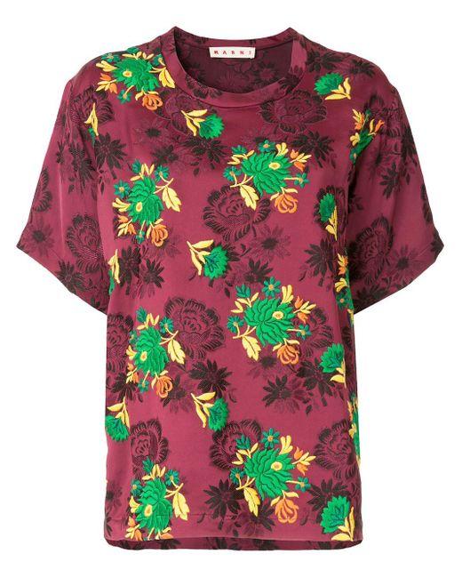 Marni エンブロイダリーtシャツ Red
