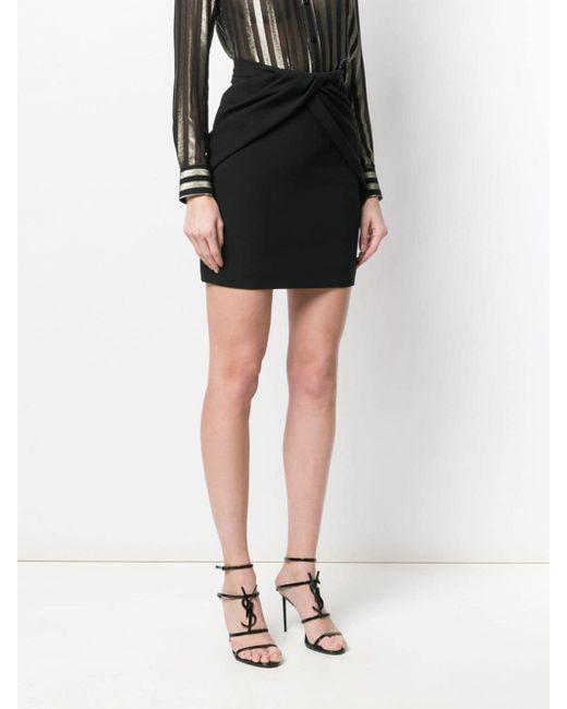 Jupe à effet drapé Saint Laurent en coloris Black