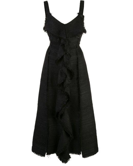 Proenza Schouler Black Midikleid Aus Tweed Mit Rüschen