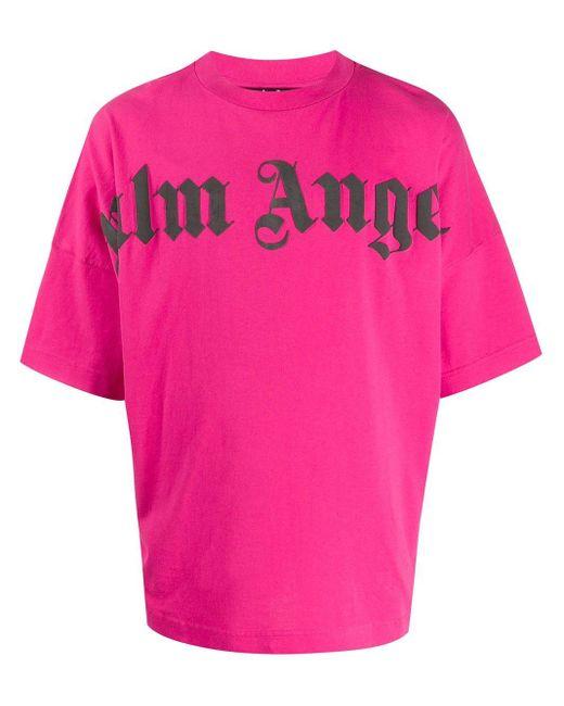 メンズ Palm Angels オーバーサイズ Tシャツ Pink