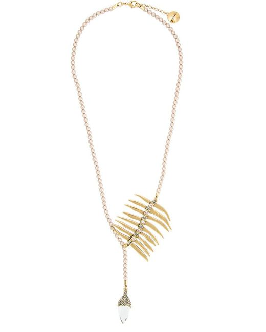 Camila Klein | Metallic Pearl Embellished Long Necklace | Lyst