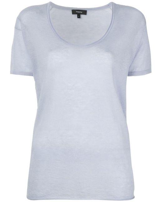 Theory スクープネック Tシャツ White