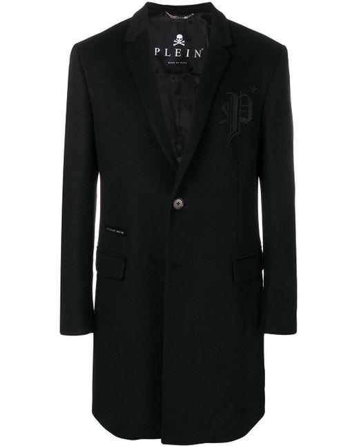 Пальто С Вышитым Логотипом Philipp Plein для него, цвет: Black