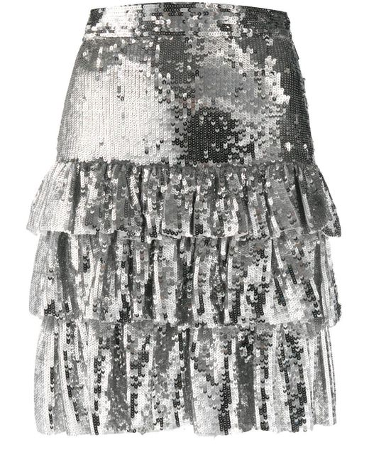 MSGM スパンコール ミニスカート Metallic