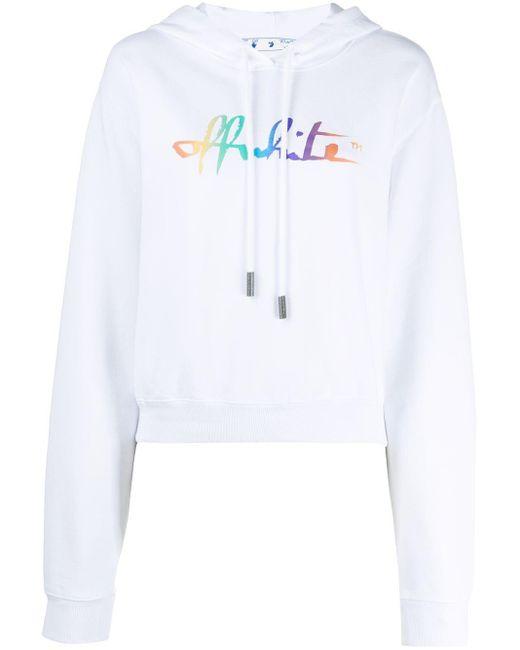 Укороченное Худи С Логотипом Rainbow Off-White c/o Virgil Abloh, цвет: White