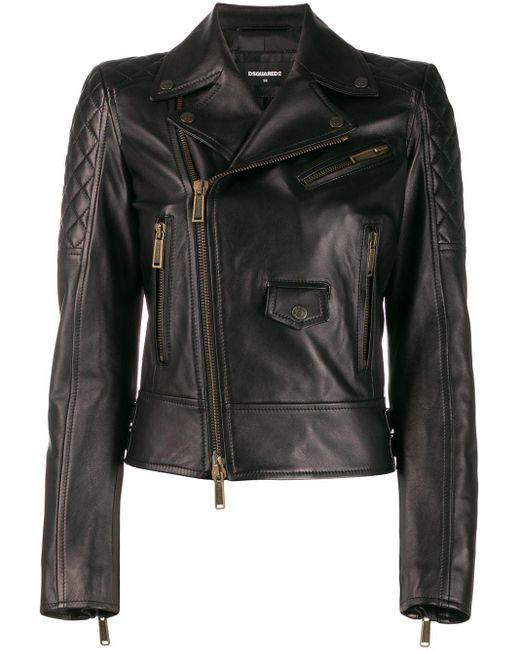 DSquared² パネル ライダースジャケット Black