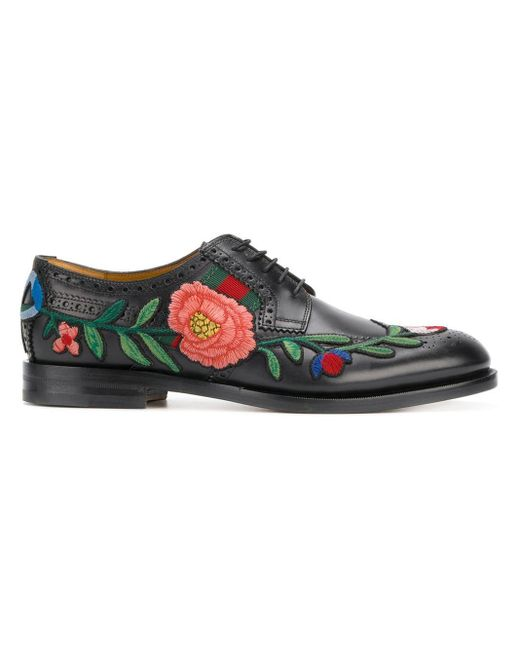 68a05c35b Gucci Floral Embroidered Brogues in Black for Men - Save 4% - Lyst