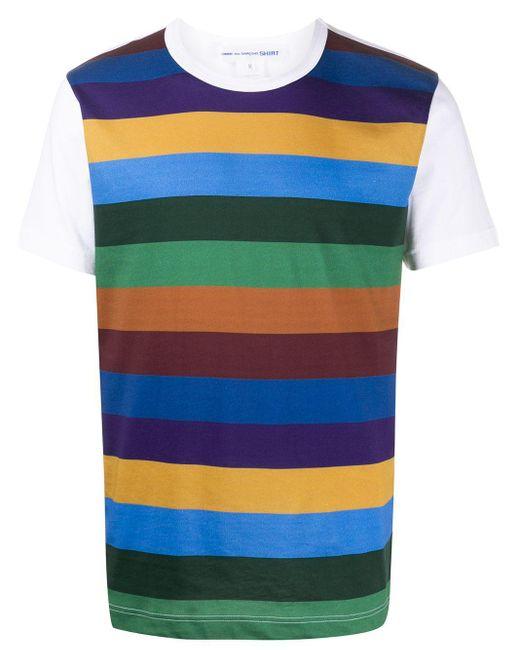 メンズ Comme des Garçons コントラストスリーブ ストライプ Tシャツ White