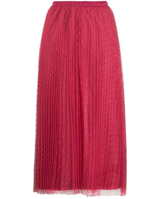 RED Valentino Pink Point D'esprit Pleated Skirt