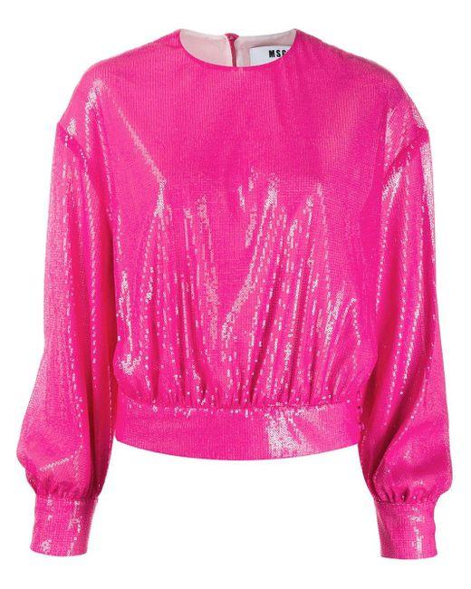 MSGM スパンコール スウェットシャツ Pink