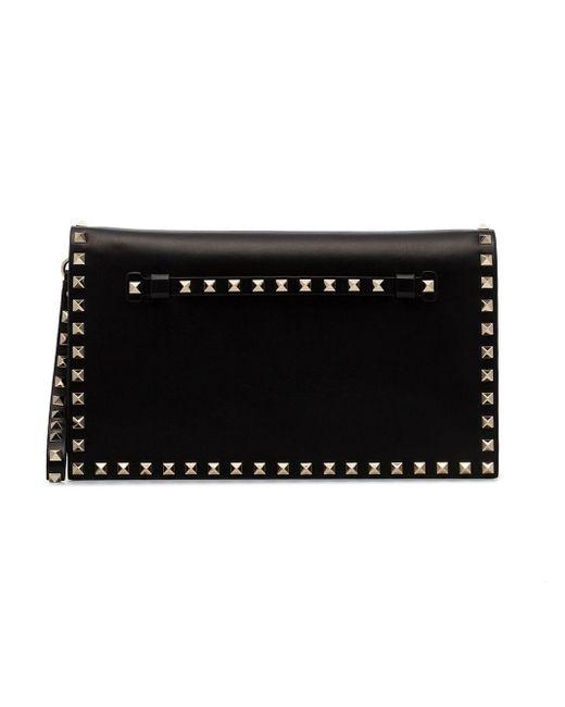 Valentino Black Rockstud Leather Clutch