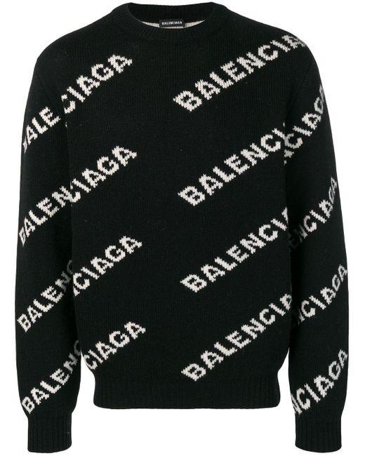 メンズ Balenciaga オールオーバー ロゴ セーター Black