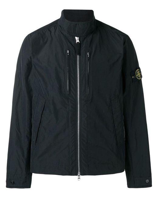 Stone Island - Black Logo Patch Windbreaker Jacket for Men - Lyst