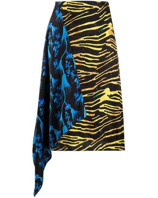 Юбка Асимметричного Кроя С Контрастной Вставкой MARINE SERRE, цвет: Multicolor
