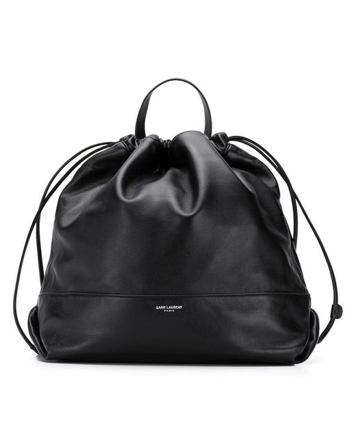 18ae64a49671 Lyst - Saint Laurent Logo Drawstring Backpack in Black for Men ...