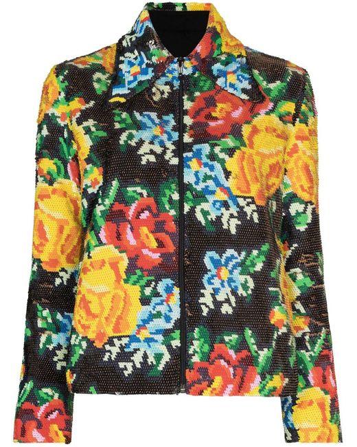 Ashish Black Floral Sequin Zip-up Jacket