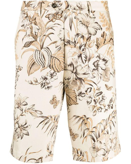 Шорты-бермуды С Цветочным Принтом Etro для него, цвет: Natural