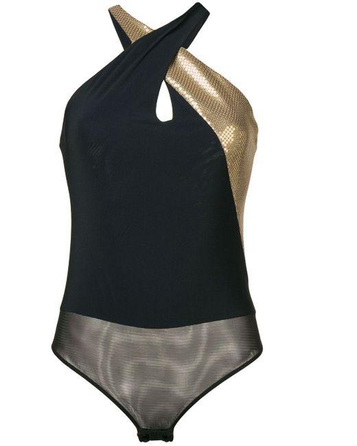 Ralph Lauren Collection クロスストラップ ボディスーツ Black