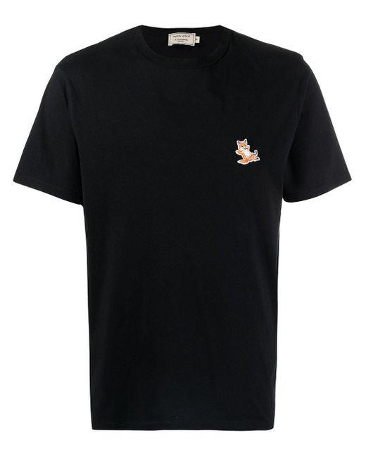 Maison Kitsuné Black Logo-print Short-sleeved T-shirt for men