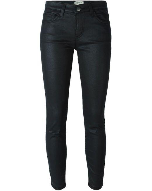 Current/Elliott Black Coated Skinny Jeans
