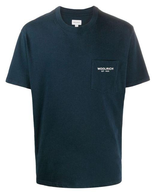 メンズ Woolrich パッチポケット Tシャツ Blue