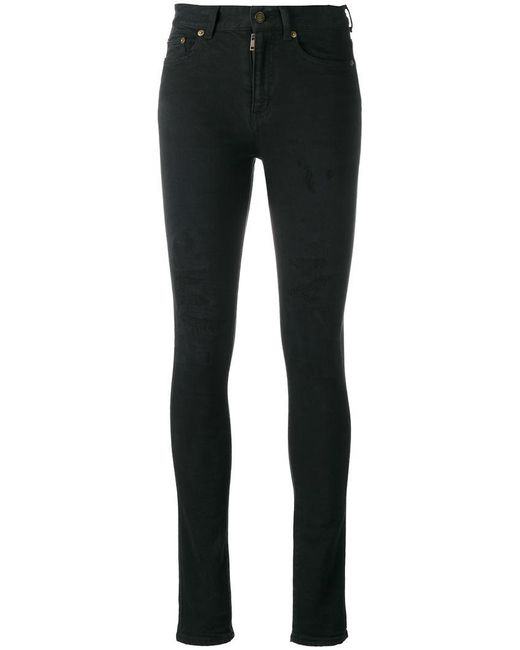 Saint Laurent | Black Distressed Skinny Jeans | Lyst