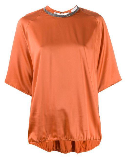 Атласный Топ Fabiana Filippi, цвет: Orange