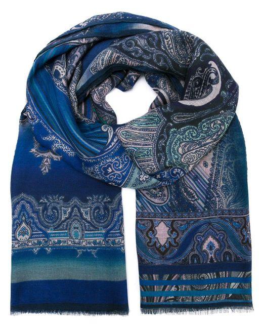 メンズ Etro ペイズリー柄スカーフ Blue