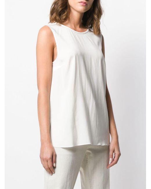 Blouse évasée à design sans manches Brunello Cucinelli en coloris White