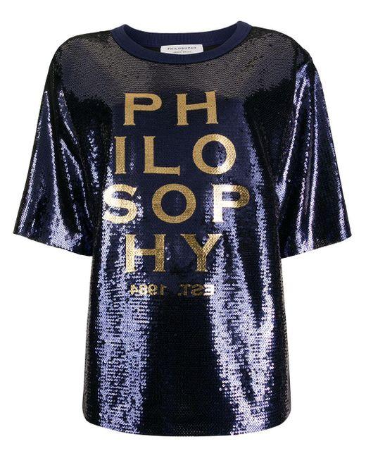 T-shirt brodé de sequins Philosophy Di Lorenzo Serafini en coloris Blue