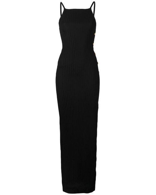 Balmain サイドボタン ロングドレス Black
