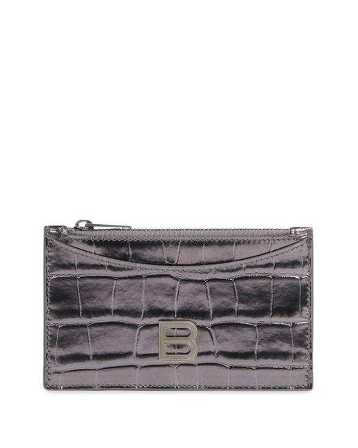 Balenciaga Metallic Portemonnaie mit Kroko-Effekt