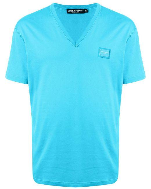 メンズ Dolce & Gabbana Vネック Tシャツ Blue