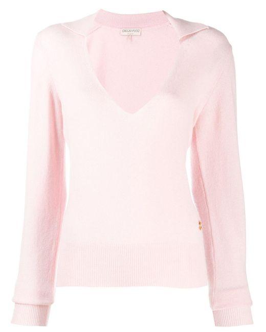Emilio Pucci カシミア Vネックセーター Pink
