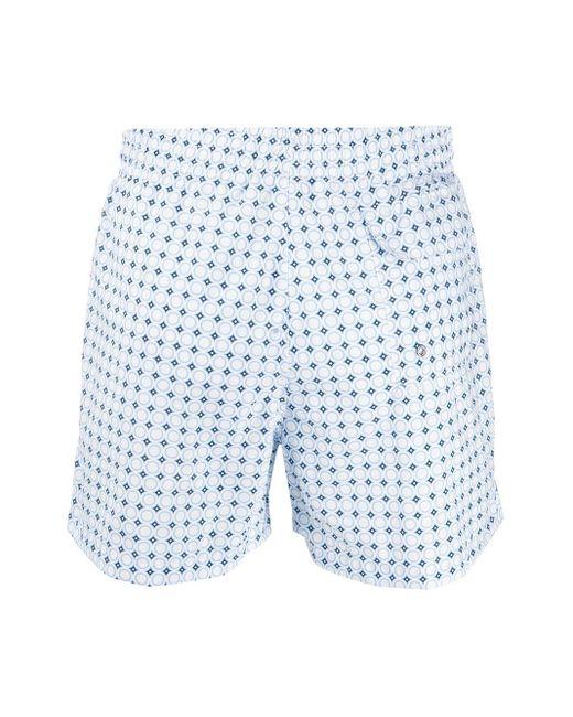 Eleventy Men's Blue Geometric-print Swim Shorts