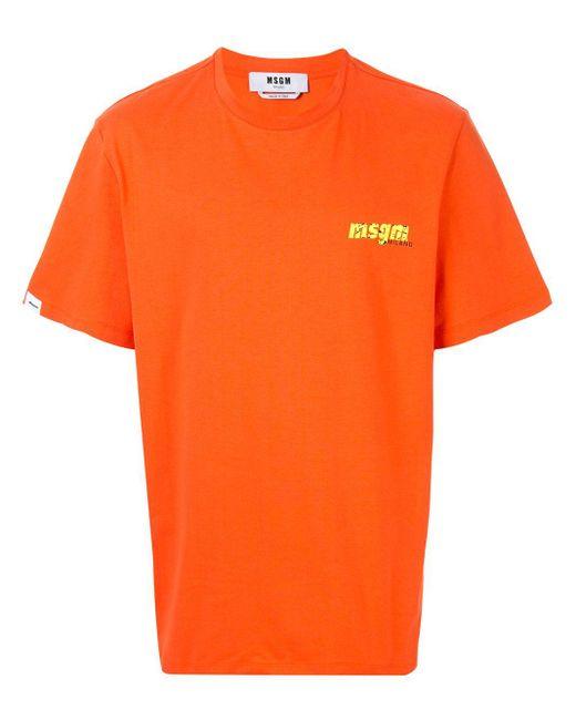メンズ MSGM ロゴ Tシャツ Orange