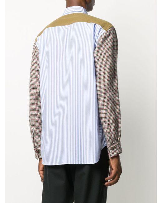 メンズ Comme des Garçons ハウンドトゥース シャツ Blue
