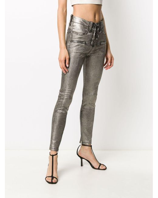 Manokhi マルチポケット パンツ Metallic